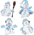 Set of funny Christmas snowman cartoon vector image vector image