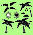 set of silhouettes of a cartoon palm tree vector image vector image