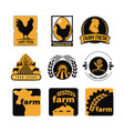 set of vintage and modern farm logo labels with vector image