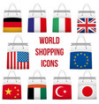Set Shopping bag with flag of different country vector image