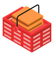 shop red basket icon isometric style vector image vector image