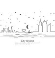 silhouette of the city and star and moon in a flat vector image vector image