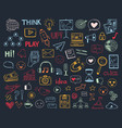 social media doodle collection blogging icons vector image vector image