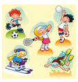 Sport characters with background vector image vector image