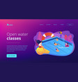 swimming and lifesaving classes concept landing vector image vector image
