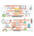 thin line flat design chemistry and physics vector image vector image