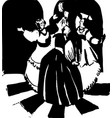 three women dance russian style ink vector image