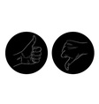 thumb up thumb down black and white icon vector image