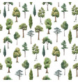 watercolor tree seamless pattern forest oak vector image vector image