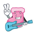 with guitar sock mascot cartoon style vector image