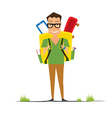 Smiling Young School Boy with Yellow Backpack vector image