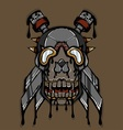 Steampunk Ink Skull vector image