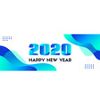 2020 happy new year abstract blue long vector image