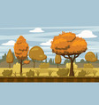 autumn landscape trees and fall leaves vector image vector image