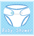 Baby shower card with blue nappy vector image vector image