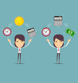 bookkeeper at worktime is money concept vector image vector image