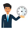 businessman with clock in hand cartoon flat vector image