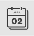 calendar day 2 april days year vector image vector image