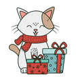 cat with gift boxes celebration merry christmas vector image vector image