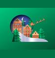 christmas papercut winter town snow globe cutout vector image