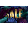cold sale banner with tropical leaves vector image vector image
