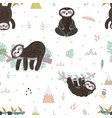 cute sloth on branch seamless pattern vector image