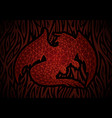 fantasy art with red dragon in the fire vector image