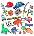 Fashion Badges Patches Stickers Boys Theme vector image vector image