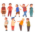 fat boys set cute cheerful overweight children vector image vector image
