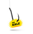 fishing hook with label price tag with text big vector image