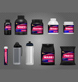 fitness sport bottles packages vector image vector image