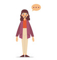 girl thinking flat style cartoon colorful vector image