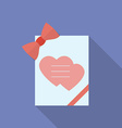 Greeting card with hearts and a bow Flat style vector image