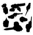 hand firing with gun black silhouette protection vector image vector image