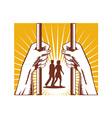Hand Looking Couple Prison Prisoner Retro vector image