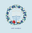 happy hanukkah greeting card invitation with vector image vector image