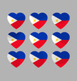 hearts with the flag of philippines i love vector image vector image