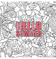 hello summer beach hand drawn symbols and objects vector image