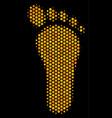 hexagon halftone human footprint icon vector image vector image
