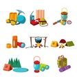 Hiking and Camping Icons Set vector image vector image