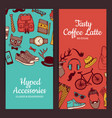 hipster doodle icons banners vector image