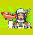 hungry woman astronaut with hot dog sausage vector image vector image