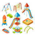 isometric pictures of kids playground with vector image