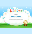 kids summer camp diploma or certificate with vector image vector image