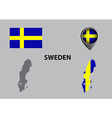Map of Sweden and symbol vector image vector image