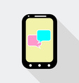 Mobile Phone with Speak Bubbles Icon Flat Style vector image vector image