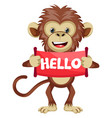 monkey with hello sign on white background vector image