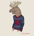 Moose dressed up in jacquard pullover Merry vector image vector image