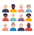 old people avatars elderly characters portraits vector image
