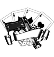 pistols and playing cards vector image vector image
